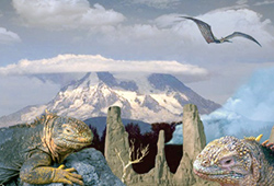 two lizards bask on rocks, a pterodactyl flies overhead, deaths head mountain in the background