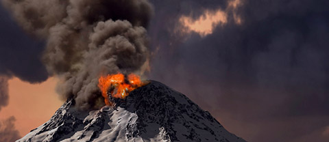 a powerful volcano erupts with billowing smoke and glowing lava